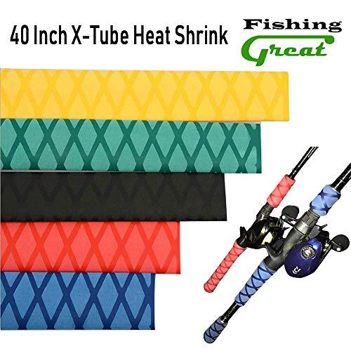 Greatfishing X-Tube Heat Shrink Sleeve Wrap Fishing Bulding Handle Cork Rod Grip with Non Slip Waterproof and Insulation 40 Inch Lengths Durable Repair (Black Dia 25mm)