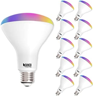 Sunco Lighting 10 Pack WiFi LED Smart Bulb, BR30, 8W, Color Changing (RGB & CCT), Dimmable, 650 LM, Compatible with Amazon Alexa & Google Assistant - No Hub Required