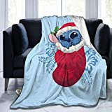 WEQDUJG Stit-ch Li-lo Christmas Blanket Throws Bed Queen Size Ultra Soft Micro Fleece Warm Fluffy Couch Living Room Luxury Blankets 50 x 40 in