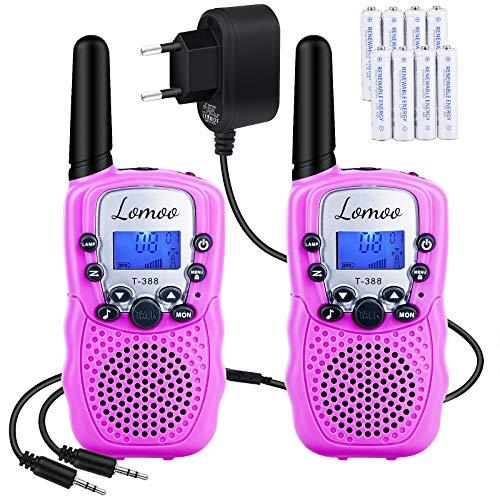 Lomoo Walkie Talkie Recargable, Radio Bidireccional con Rango de Larga Distancia Interphone de 8 Canales para Comunicación en el Hogar/Festival (con 8 Pilas y Cargador, Rosa)
