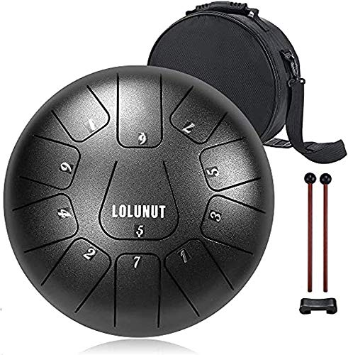 Steel Tongue Drum Percussion Instruments with Music Score,Applicable to Music Education,Mind Healing,Yoga Meditation (10'', Black)