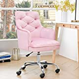 ovios Cute Desk Chair,Plush Velvet Office Chair for Girl or Lady,Modern,Comfortble,Nice Vanity Chair and Task Chair with Silver Base. (Polish Steel-Pink)