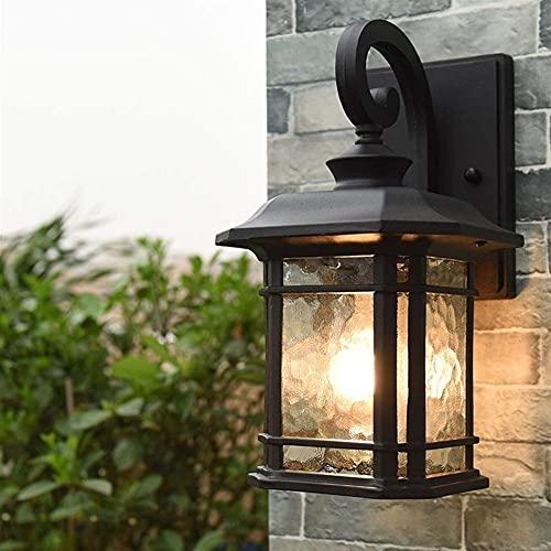 American Victoria Farol Lámpara de pared de vidrio antiguo para la industria de aluminio vintage Antioxidante extranjero Luz de pared impermeable Iluminación de decoración E27 Pati