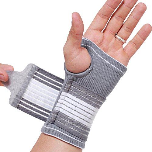 Neotech Care - Handflächenstütze mit Daumenteil (1 Einheit) - verstellbarer Kompressionsriemen - elastischer & atmungsaktiver Stoff - für Sport, Bowling, Boxen - Grau - M