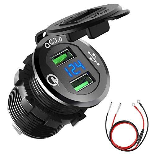 Orcas Cargador de coche USB de carga rápida 3.0, 12 V/24 V, 36 W, impermeable, adaptador de enchufe USB dual con voltímetro digital LED para barco, motocicleta, camión, movilidad y mucho más
