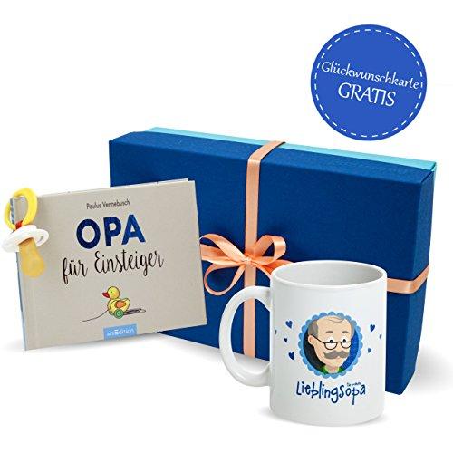 MyOma Opa Geschenk - Opa Geschenkset mit Opa für Einsteiger Buch, Schnuller und Opa Tasse in Geschenkbox + GRATIS Karte - Opa Geschenk für werdenden Opa (Opa Loading) - Opa Werden Geschenk