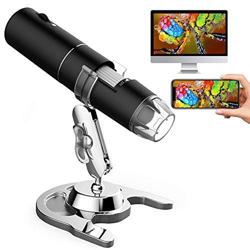 Wireless Digital Microscope, 50X to 1000X Magnification Handheld USB Electronic Endoscope Magnifier with 8 Adjustable LED Lights 1080P FHD Pocket Zoom Camera with Android, iPhone, Tablet, Windows, Mac