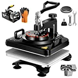 VIVOHOME Upgraded 5 in 1 Combo Multifunctional Swing Away Clamshell Printing Sublimation Heat Press Transfer Machine for T-Shirt Hat Cap Mug Plate 15 x 12 Inch Black