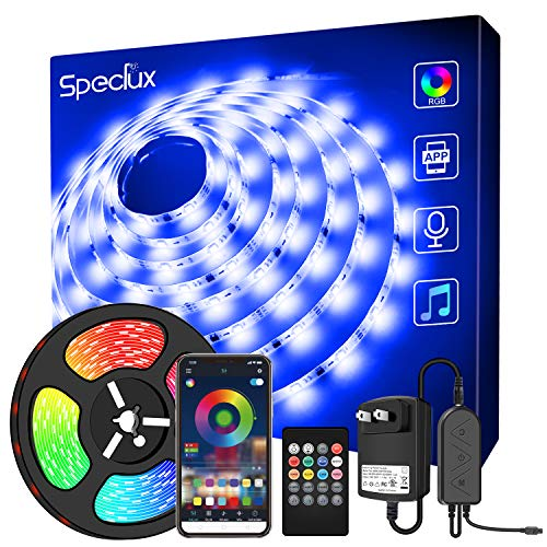 Speclux Bluetooth Smart LED Strip Lights 32.8 FT/10M, Strip Lights Sync to Music SMD 5050 300pcs LED Chips, RGB 12V Rope Lights with Remote, Smart Phone App Controlled Color Changing Light Strips