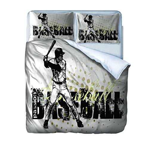 Earendel Bettwäsche 3D Sport Baseball 140X200Cm Bettbezug Set Bettwäsche Set 4 Teilig Bettbezüge Mikrofaser Bettbezug Mit Reißverschluss Und Haltbar Atmungsaktive 1Bettbezug 1Bettlaken 2Kissenbezug