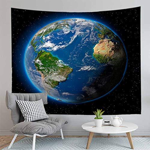 Wandteppich Wandbehang,3D Digital Gedruckten Blauen Planeten Erde Decke Wand Hängenden Kunst Für Dorm Bett Decke Office Home Stoff Canvas Wohnzimmer Schlafzimmer Einrichtung Große Wandteppiche, 150