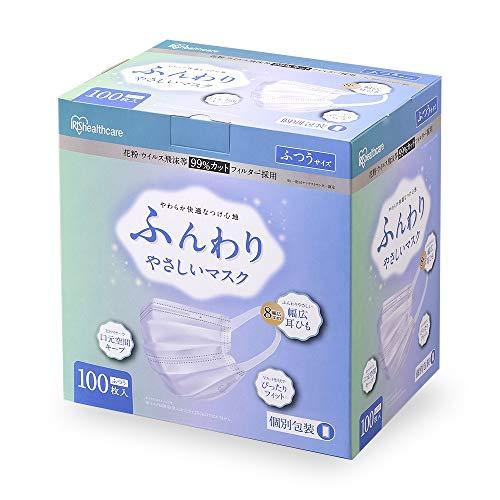 アイリスオーヤマ ふんわり やさしい 不織布 マスク 100枚 ふつう