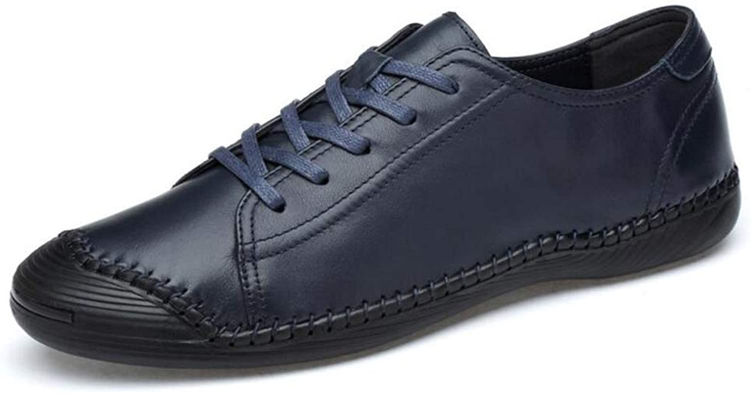 Mens Casual shoes,Spring Fall Leather Comfort Breathable Driving shoes, Lace Up Formal Business shoes, Soft Sole Walking Gym shoes,bluee,41