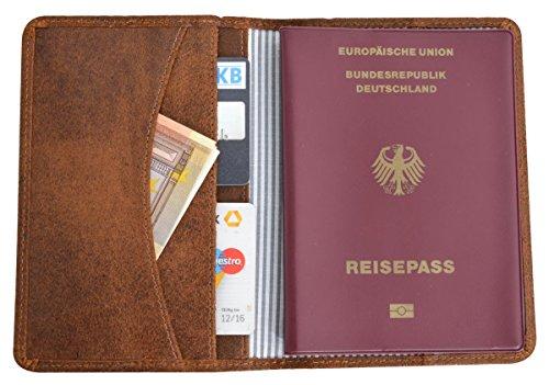51CEJnMLDoL - Funda de Cuero para Pasaporte Gusti Leder Brodie Estuche Protector Documentos Cuero de Buey Marrón 2S40-33-1