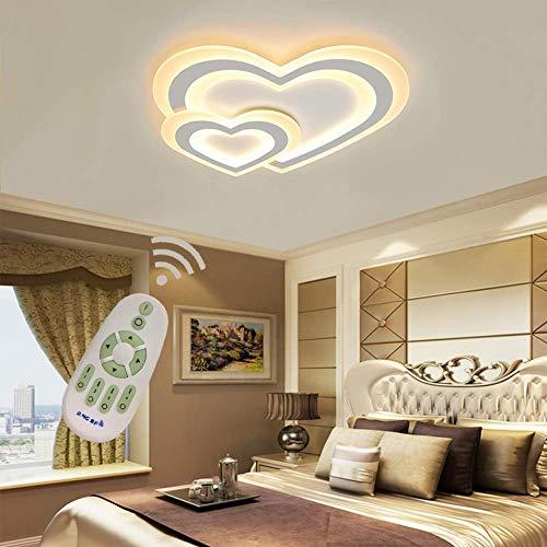 YSNJG Moderne Decke Led Acryl-Herz formte mit Fernbedienung dimmen Kinderzimmer Deckenleuchte Schlafzimmer Küche Badezimmer Flur Licht L50 * W48cm Weiß