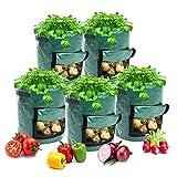 WANGIRL Pianta 5 PCS Sacchi per Piante Sacchetti per Coltivazione Patate Grow Borsa per Piante Piantapatate Sacchi con Finestra Manici per Coltivare Carote Zucchine e Pomodori Ortaggi Attrezzo
