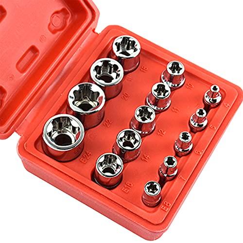 Voupuoda Juego de enchufes de estrella hembra de 14 piezas 1/2 '' 3/8 '' 1/4 '' enchufes E4-E24 con caja de almacenamiento