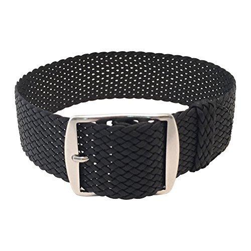 Wrist And Style Perlon Watch Strap (22mm, Black)
