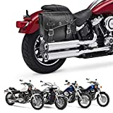 Leather Motorcycles Saddlebag Throw Over Saddle Bag with Cup Pocket for Sportster Softail Dyna Road King V-star Shadow, Vulcan, Black PU Material
