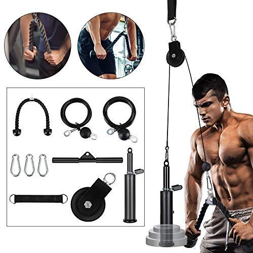 Vogvigo 10 Piezas de Sistema de Cable de Polea de Fitness Equipo de Gimnasio de Entrenamiento en Casa Ejercitador de Entrenamiento de Fuerza para Brazos Flexión de Bíceps Antebrazo Hombro