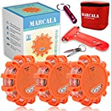MARCALA LED Road Flares Emergency Lights | 3-Pack Roadside Safety Disc Kit w/ a Whistle | DOT Compliant Emergency Flares for Car w/ Batteries installed & 4 Bonus Items | Feel safer on the road!