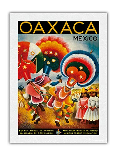 Pster vintage de viaje de Miguel Covarrubias c.1943 de Oaxaca, Mxico - Disfraz de bailarines nativos disfrazados de bailarines indgenas  impresin premium de papel de arroz Unryu 45,7 x 60,9 cm