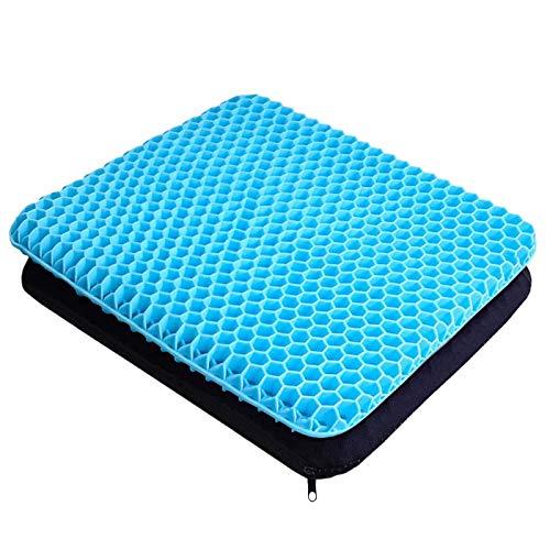 Coussin de siège en Gel Respirant avec revêtement antidérapant pour Aider à soulager Les maux de Dos, utilisé dans Les Voitures, Les Bureaux, Les fauteuils roulants (Bleu Clair)
