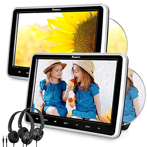 NAVISKAUTO 2 10,1' DVD Player Auto Slot In Design DVD Player Tragbar Kopfstütz Monitor mit Kopfhörer 1080P HD 1024*600 Memory HDMI IN SD USB bis 128GB AV In/Out