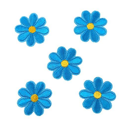 HENGSONG 5 Stück Blumen Aufnäher Stickerei Applikationen Set Patches Zum Aufbügeln für T-Shirt Jeans Kleidung Taschen Hut Dekor (Blau)