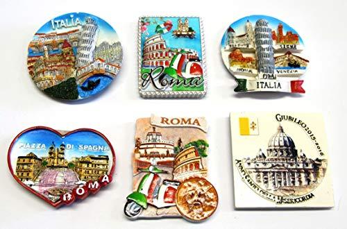 Composizione 1A - 6 Pezzi di Calamite Magnete per FRIGO Souvenir di Roma Souvenir from Italy Rome