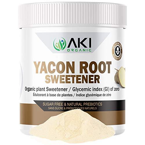 Aki Organic Pure Yacon Powder Root - Sugar Substitute - Prebiotic - Weight Loss - Gluten Free Sweetener - Source of FOS Fructooligosaccharides