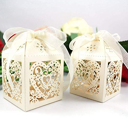 "YOZATIA 50PCS Laser Cut Gift Boxes, 2.2""x2.2""x2.2""Love Heart Wedding Boxes with 50 Ribbons for Party Favor (Ivory)"
