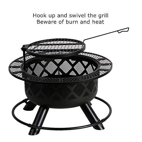 BALI OUTDOORS 32-Inch Wood Burning Fire Pit with Cooking Grill