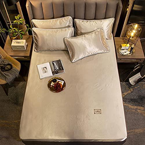 YFGY Sabana Ajustable 1 Persona Funda Protectora de colchón de Cama de sábana Ajustable de satén marrón Doble, Funda de Cama de sábanas elástica para Dormitorio y apartamento 150 * 200 cm