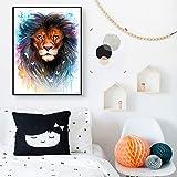 ganlanshu Pintura sin Marco Acuarela Animal león Pintura al óleo póster y Arte de Pared sobre lienzoCGQ7760 30X45cm