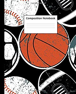 Composition Notebook: NIfty Wide Ruled Paper Notebook Journal | Pretty Basketball & Football Wide Blank Lined Workbook for Teens Kids Students Girls for Home School College for Writing Notes.
