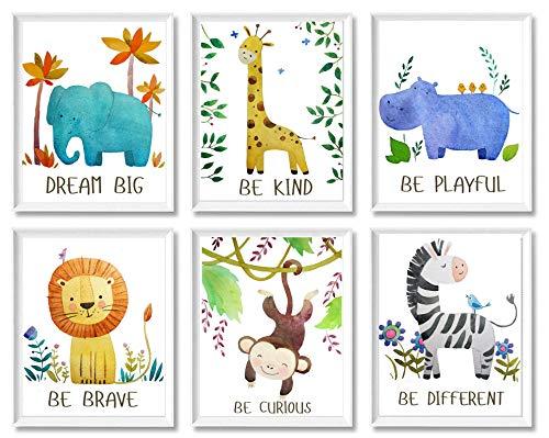 Baby Nursery Decor - Jungle Safari Animal Unframed Wall Art -Set of 6 Posters 8x10 - Lion, Giraffe, Elephant, Monkey, Zebra, Hippo with Inspirational Quotes for Boy Girl Kids