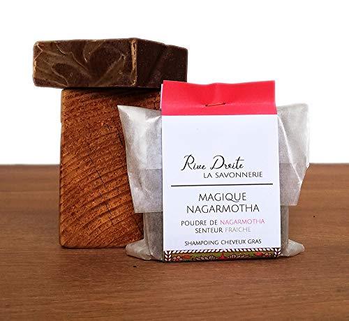 Shampoing Solide Bio à l'Argile Verte, Ricin et poudre Ayurvédique de Nagarmotha Cheveux Gras Fabriqué en France - Magique Nagarmotha