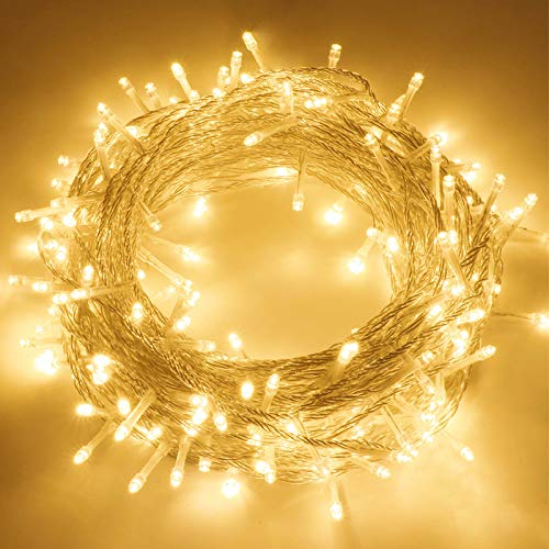 BHCLIGHT 82FT 200 LED String Lights Outdoor Waterproof Extendable Twinkle Lights with 8 Modes, Warm White Christmas String Lights Waterproof Christmas Decorations for Tree, Patio, Garden, Room