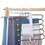 Rhinoceros Pants Hangers Space Saving Multifunctional Pants Rack 2 Uses Non Slip Trousers Hangers 5 Layers Space Saver for Closet Scarf Jeans Slacks (White, 2 Pcs)