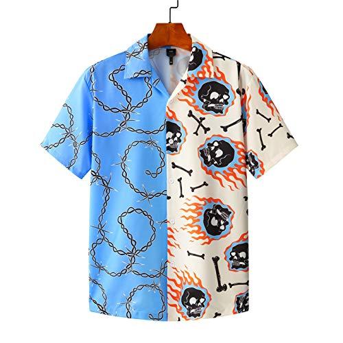 Camisa de Manga Corta para Hombre, Costura de Bloqueo de Color, Suelta, de Gran tamaño, con Estampado de Personalidad, Camisa con Botones y Tendencia callejera X-Large