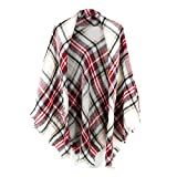 Women's Plaid Blanket Scarf Wrap Stripe Shawl Checked Scarves Tartan Pashmina Cape Cozy