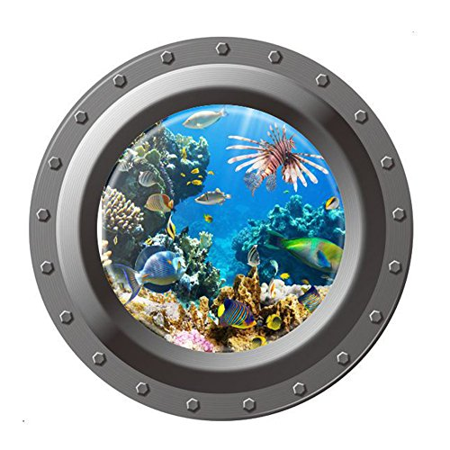 GLOBEAGLE Wall Stickers Underwater Ocean View Wall Sticker 3D Porthole Window background Wall Stickers Kids Room Home Decor Art