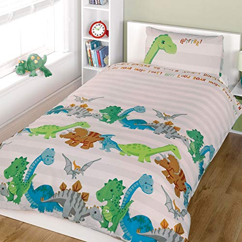 Just Contempo Set de sábanas para niños (algodón), Mezcla de algodón, Dinosaurio - Beige, Blanco, Verde, Funda de edredón Individual