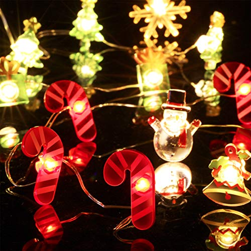 6 Pieces Christmas Theme String Lights, 20ft 60 LED 3D Decorative Lights, Candy Cane, Bell, Present Box, Snowman, Christmas Tree, Snow, 2AA Battery Powered for Christmas, Bedroom, Porch, Wedding