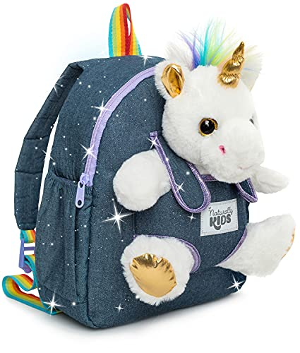 Naturally KIDS Medium Unicorn Backpack - 5 - 7 Year Old Girl Gifts - Kids Backpack for Girls Boys w Stuffed Animal - Toys for 6 Year Old Girls - w Pockets & Reflective Logo - Backpack w White Unicorn