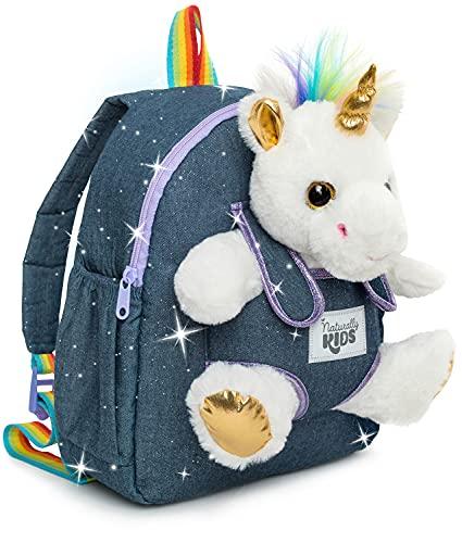 Naturally KIDS Mochila Unicorn - Regalos para niñas de 5 a 7 años - Mochila para niños con animales de peluche - Juguetes para niñas de 6 años - Mochila mediana con bolsillos y logo reflectante con Unicornio blanco