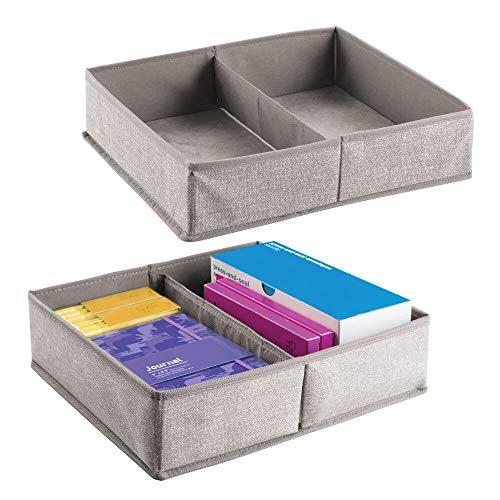 mDesign - Lade-indeling voor kantoor - 2-delige set opbergdozen met elk 2 compartimenten - voor kantoorbenodigdheden - linnen