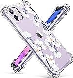 GVIEWIN iPhone 11 ケース 花柄 かわいい 耐衝撃 透明TPU ソフト ストラップホール付き ワイヤ……