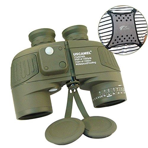 USCAMEL Prismáticos 10X50 Militar HD con Alcance, Brújula Multifunción,Apto para Observación de Aves, Caza, Vela, con Correa para Hombro